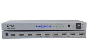 Bộ chia HDMI 1 ra 8 cổng hỗ trợ 4K-2K chính hãng Dtech DT-7148