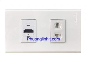 Bộ Wall plate 2 cổng (HDMI cắm thẳng + Ổ điện 2 chấu) âm tường dùng mặt Panasonic