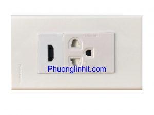 Bộ Wall plate 2 cổng (HDMI + Ổ điện 3 chấu) âm tường dùng mặt Panasonic