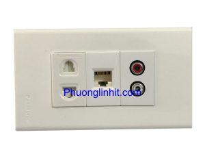 Bộ Ổ cắm Audio + Mạng Rj45 cat5e + Ổ cắm điện 2 chấu, lắp âm tường dùng mặt Panasonic