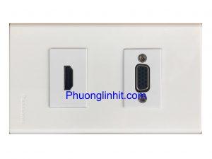 Bộ Wall plate 2 cổng (VGA + HDMI) âm tường dùng mặt Panasonic