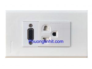 Bộ Wall plate 2 cổng (VGA + Ổ điện 3 chấu) âm tường dùng mặt Panasonic