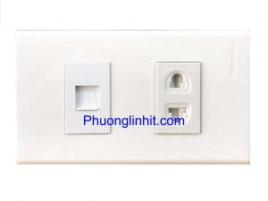 Bộ Ổ cắm Mạng Rj45 cat5e + Ổ cắm điện 2 chấu, lắp âm tường dùng mặt Panasonic
