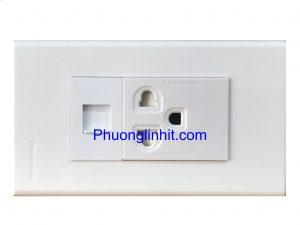 Bộ Wall plate 2 cổng (Lan Cat5e + Ổ điện 3 chấu) âm tường dùng mặt Panasonic