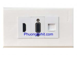 Bộ Wall plate 3 cổng (Lan Cat5e + VGA + HDMI) âm tường dùng mặt Panasonic