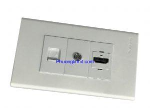 Bộ Wall plate 3 cổng (Lan Cat5e + HDMI + Audio 3.5ly) âm tường dùng mặt Panasonic
