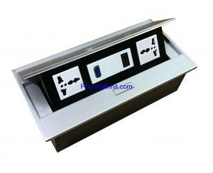 Bộ ổ cắm âm bàn Sino Amigo STS-215 gồm ( 2 ổ cắm 3 chấu + VGA + HDMI) Chính hãng
