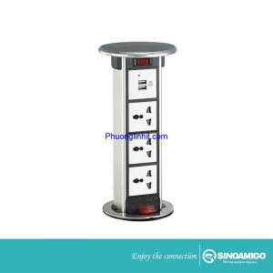 ổ cắm âm bàn Sino Amigo STP-1S ( 3 ổ 3 chấu + 2 ổ sạc USB) chính hãng