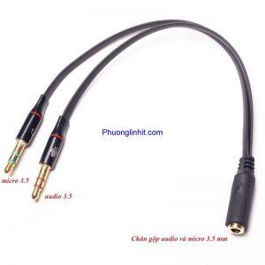 Cáp gộp Audio và Microphone ra 1 jack cắm 3.5mm