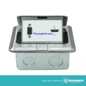 Ổ cắm âm sàn Sino Amigo SPU-1Se mầu bạc ( ổ VGA + ổ HDMI) chính hãng