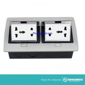 ổ cắm điện đa năng âm sàn hãng Sinoamigo SPU-52S mầu bạc, gồm các ổ cắm