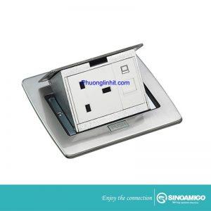 ổ cắm điện âm sàn Sino Amigo SPU-5S mầu bạc ( ổ 3 chấu + ổ Mạng cat5) chính hãng