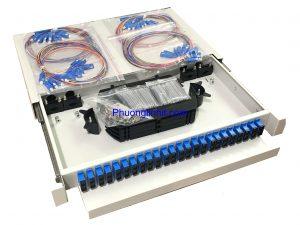 Hộp phối quang ODF 64FO/ Core khay trượt lắp tủ rack đầy đủ phụ kiện