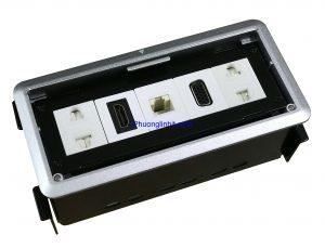 ổ cắm âm bàn Sino Amigo STS-213 ( 2 ổ cắm + Mạng cat5 + HDMI và VGA) chính hãng