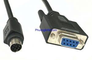 Cáp lập trình PLC cáp cổng COM RS232 DB9 sang cổng tròn 8 chân dài 2m