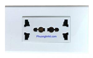 Ổ cắm đôi 3 chấu đa năng chuẩn Anh nắp âm tường dùng mặt Panasonic
