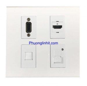 Bộ ổ cắm vuông âm tường 4 thiết bị lắp mặt Panasonic
