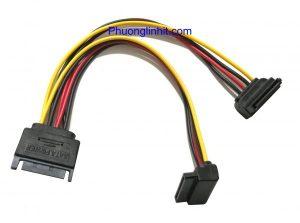 Cáp chia nguồn Sata 1 ra 2 Sata góc vuông gập 90 độ dùng cho HDD/ SSD