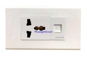 Ổ cắm âm tường gồm ổ điện 3 chấu và ổ cắm mạng Rj45, dùng mặt Panasonic