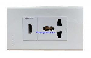 Ổ cắm đa năng âm tường gồm ổ điện 3 chấu và ổ cắm HDMI, dùng mặt Panasonic