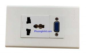 Ổ cắm đa năng âm tường gồm ổ điện 3 chấu và ổ cắm VGA, dùng mặt Panasonic