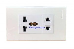 Ổ cắm âm tường gồm 2 ổ cắm điện đa năng, dùng mặt Panasonic