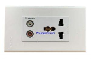 Ổ cắm đa năng âm tường gồm ổ điện 3 chấu và ổ cắm Audio, dùng mặt Panasonic