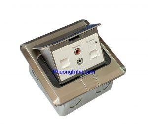 Ổ cắm âm sàn Sino Amigo SPU-1Se mầu bạc ( ổ mạng Rj45, ổ cắm Audio và USB sạc 5V)