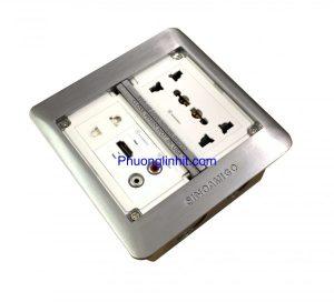 Ổ cắm âm sàn Sino Amigo SFP-2L mầu bạc ( ổ 3 chấu, ổ 2 chấu, ổ cắm HDMI và Audio )