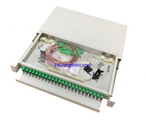 Hộp phối quang ODF 24FO-APC khay trượt lắp rack đủ phụ kiện