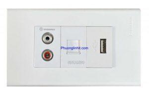 Ổ cắm Audio, Lan cat5e và cổng USB sạc 5v-2.1mA lắp mặt Panasonic