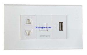 Ổ cắm điện, Lan cat5e và cổng USB sạc 5v-2.1mA lắp mặt Panasonic