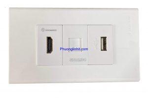 Ổ cắm HDMI, Lan cat5e và cổng USB sạc 5v-2.1mA lắp mặt Panasonic