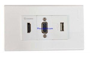 Ổ cắm HDMI, VGA và cổng USB sạc 5v-2.1mA lắp mặt Panasonic