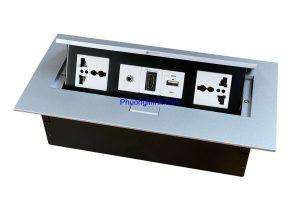 ổ cắm âm bàn chính hãng Sinoamigo STS-212S gồm ổ 3 chấu, Audio, USB và HDMI