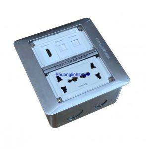Ổ cắm điện âm sàn Sino Amigo SFP-2L gồm ổ cắm điện, HD, mạng Lan