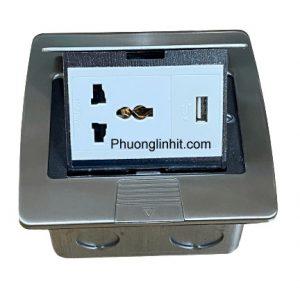 Ổ cắm âm sàn Sino Amigo SPU-3S gồm Ổ điện và cổng sạc USB 5V-2A