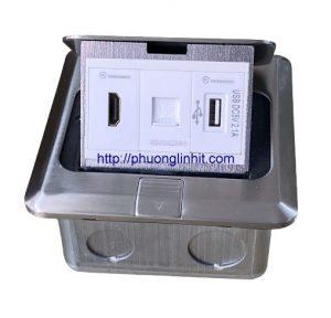 Hộp ổ cắm âm sàn, âm bàn Sinoamigo SPU-1Se mầu bạc, HDMI-Lan Rj45-Sạc Usb 5v2a