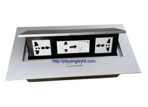 Hộp ổ cắm điện âm bàn SINOAMIGO STS-212S màu bạc gồm phụ kiện