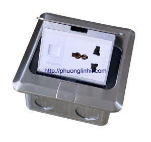 Bộ ổ cắm Mạng lan Rj45, điện 3 chấu âm sàn, bàn Sinoamigo SPU-1SE